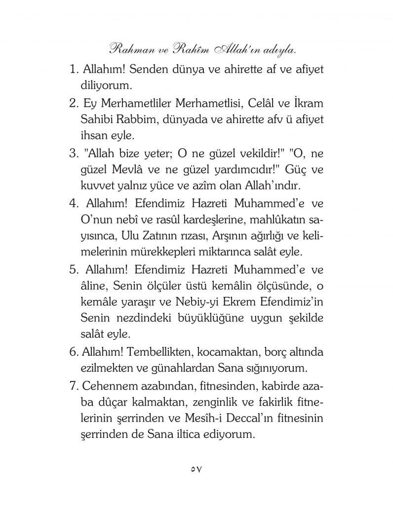 HERHANGİ BİR HÂL ve VAKİT İLE KAYITLI OLMADAN OKUNACAK DUALAR Sayfa-2