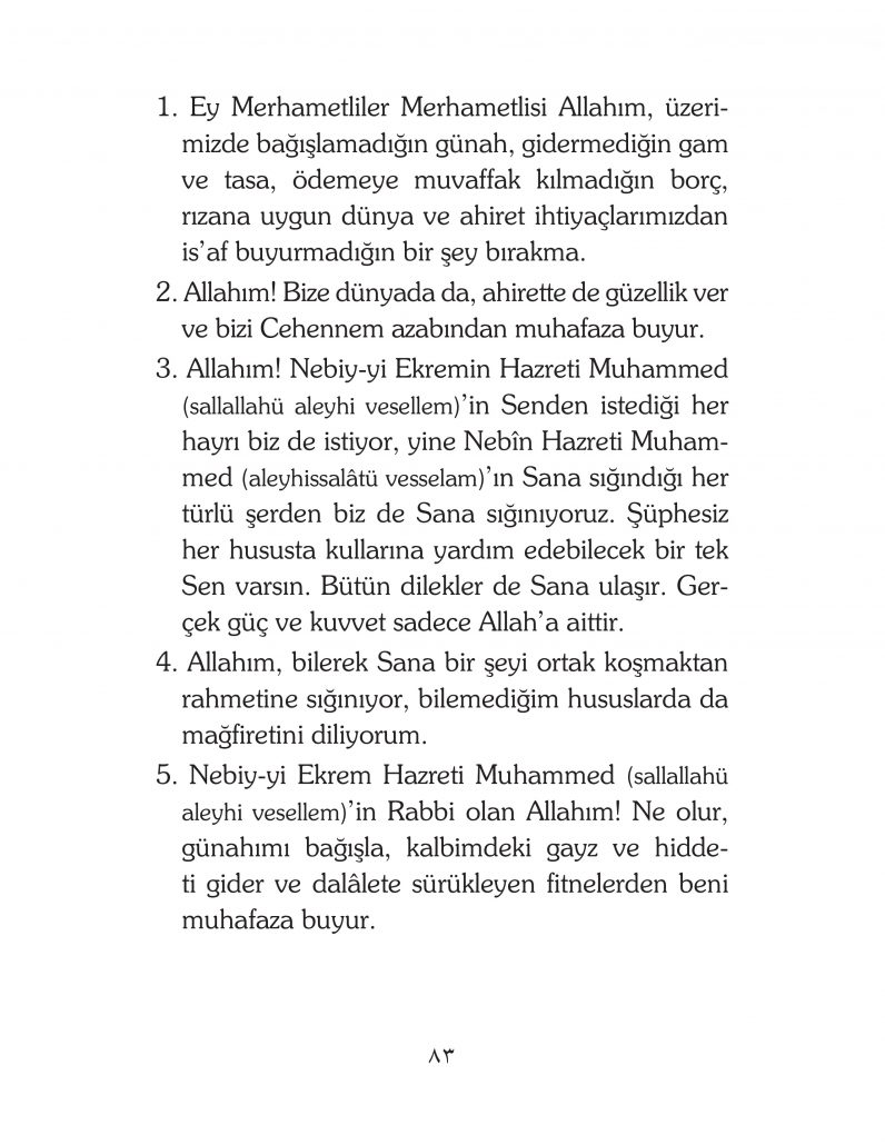HERHANGİ BİR HÂL ve VAKİT İLE KAYITLI OLMADAN OKUNACAK DUALAR Sayfa-28
